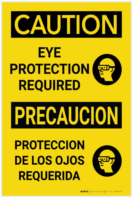 Caution: PPE Eye Protection Required With Graphic Bilingual Spanish - Label