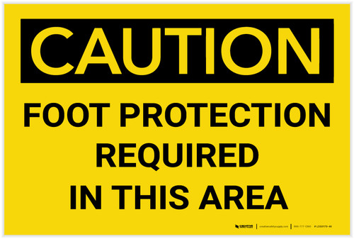 Caution: PPE Foot Protection Required in This Area - Label