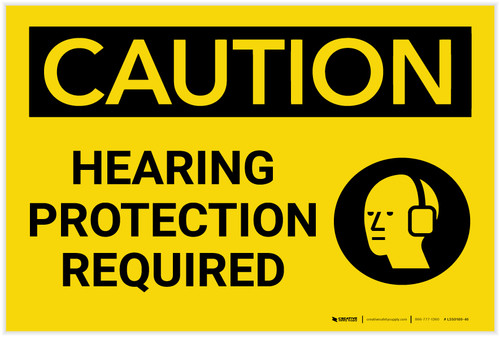 Caution: PPE Hearing Protection Required with Graphic - Label