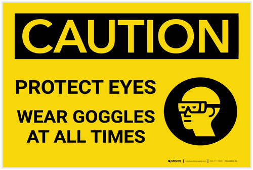 Caution: PPE Protect Eyes Wear Goggles At All Times - Label