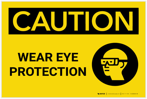 Caution: PPE Wear Eye Protection With Graphic - Label