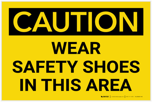 Caution: PPE Wear Safety Shoes in This Area - Label