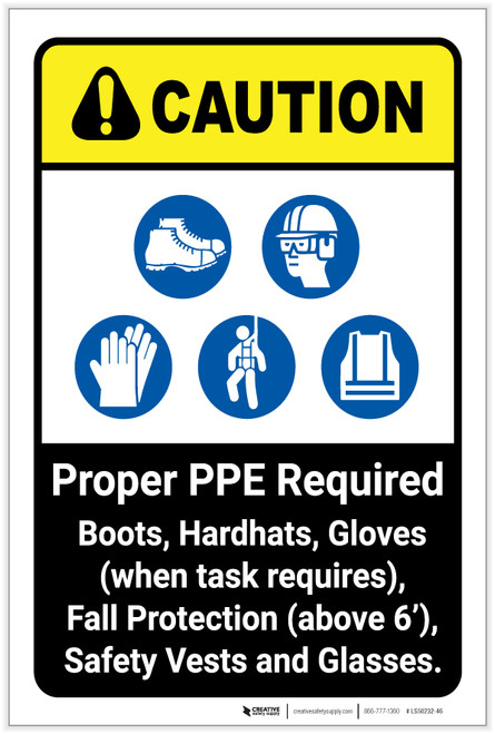 Caution: Proper PPE Required ANSI - Label