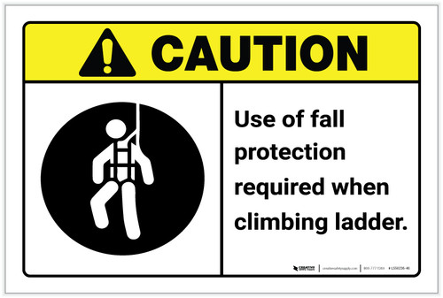 Caution: Use Of Fall Protection Required Climbing Ladder ANSI - Label