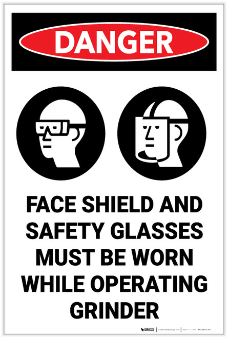 Danger: Faceshield Safety Glasses Worn Operating Grinder Sign With Icons - Label