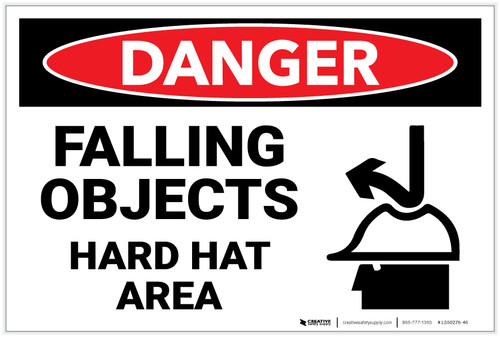 Danger: Falling Objects Hard Hat Area Sign With Icon - Label