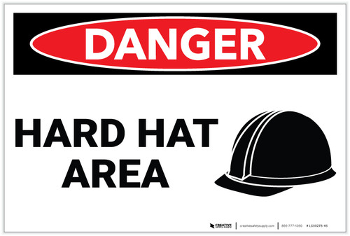 Danger: Hard Hat Area with Icon - Label