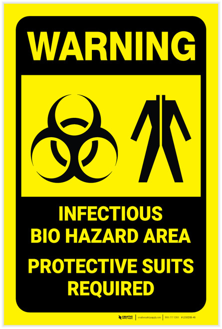 Warning: Infectious Bio Hazard Area Protective Suits Required with Graphic - Label