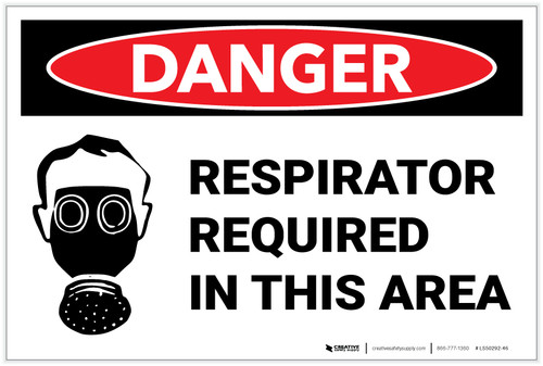 Danger: Respirator Required Area Sign With Icon - Label