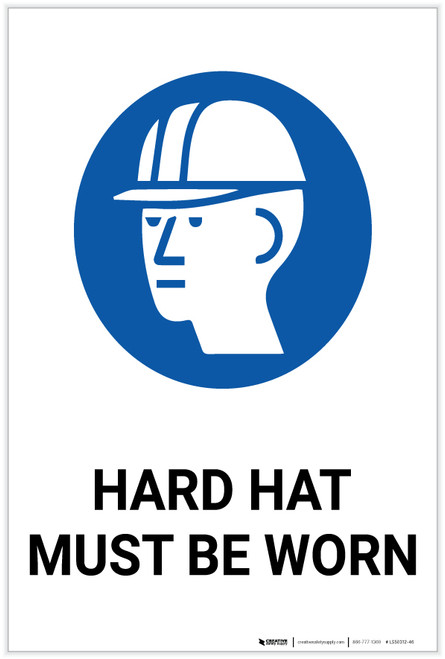Hard Hat Must be Worn with Icon - Label