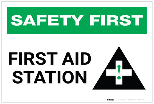 Safety First: First Aid Station with Icon - Label