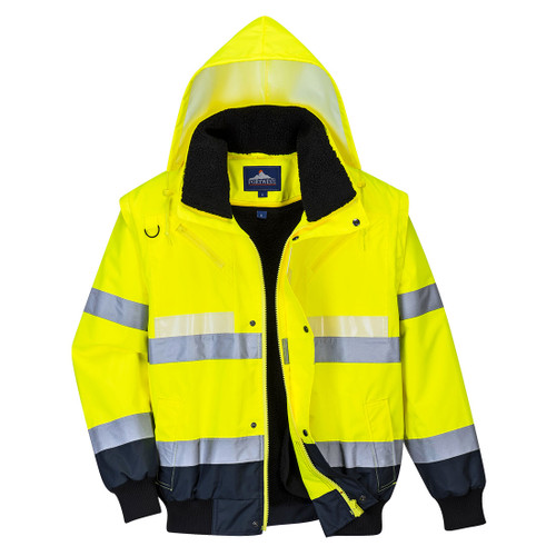 Portwest G465 - Glowtex 3-in-1 Bomber Jacket  Yellow/Navy