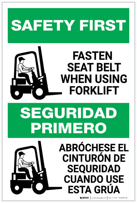 Safety First: Fasten Seat Belt When Using Forklift Bilingual Spanish - Label