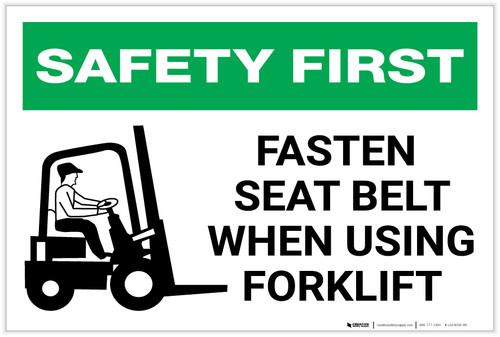 Safety First: Fasten Seat Belt When Using Forklift - Label