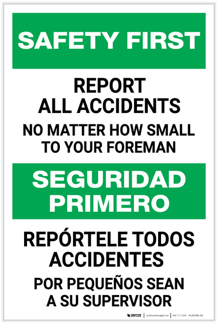 Safety First: Report Accidents to Foreman Bilingual Spanish - Label