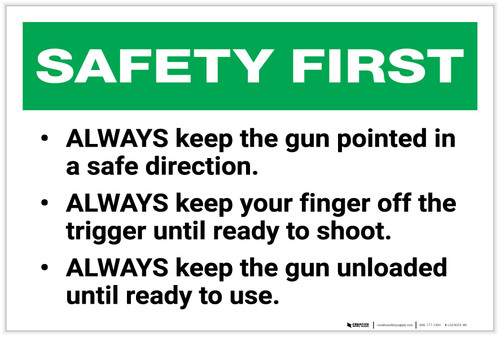 Safety First: Gun Range Rules and Safety - Label