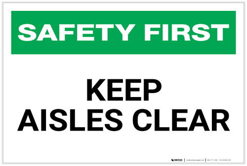 Safety First: Keep Aisles Clear - Label