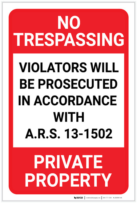 No Trespassing: Private Property Arizona Portrait - Label