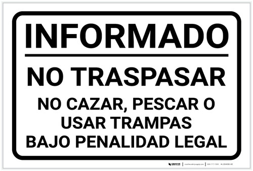 Posted: Private Property No Hunting Spanish Landscape - Label