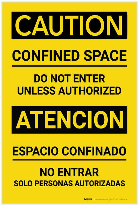 Caution: Confined Space - Do not Enter Unless Authorized - Label
