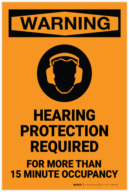 Warning: Hearing Protection Required - Label