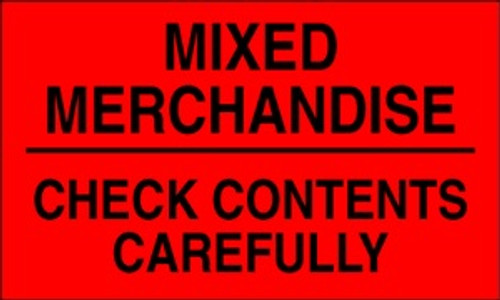 Mixed Merchandise Check Contents (Fluorescent Red) 3 x 5 - Label Roll
