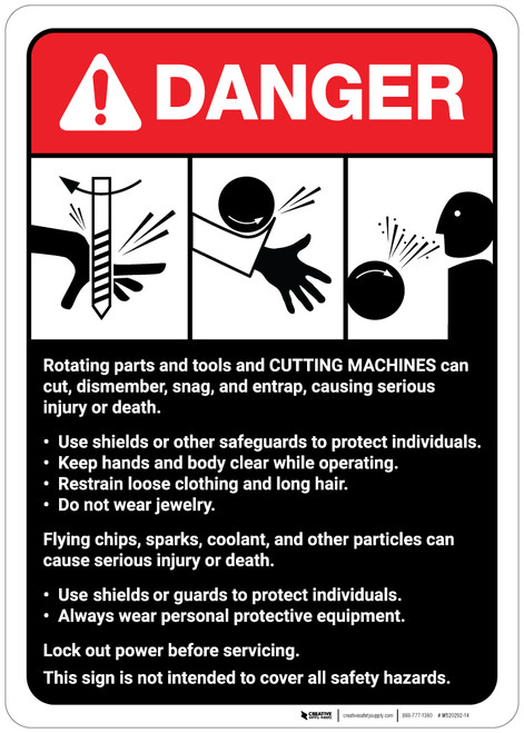 Danger: Cutting Machine Guidelines ANSI - Wall Sign