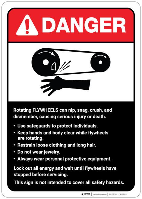 Danger: Flywheels Guidelines ANSI - Wall Sign
