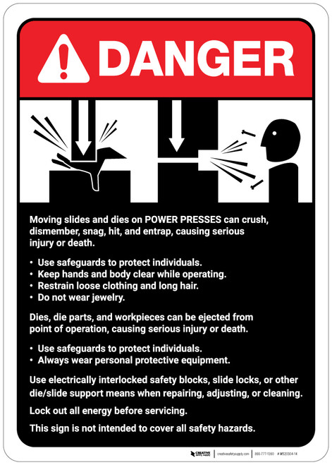 Danger: Power Presses Machine Guidelines ANSI - Wall Sign