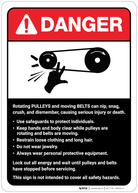 Danger: Pulleys and Belts on Machine Guidelines ANSI - Wall Sign