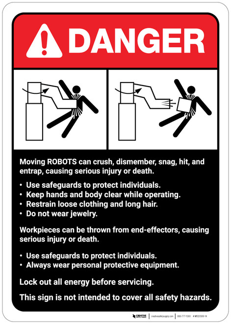 Danger: Robot Crush Warning and Guidelines ANSI - Wall Sign