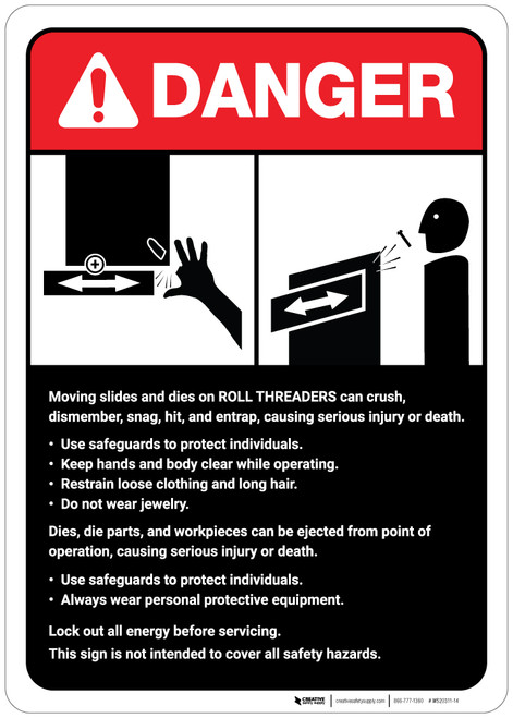 Danger: Roll Threaders Guidelines ANSI - Wall Sign