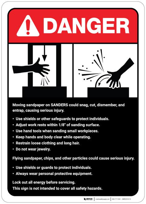 Danger: Sander Machine Guidelines ANSI - Wall Sign