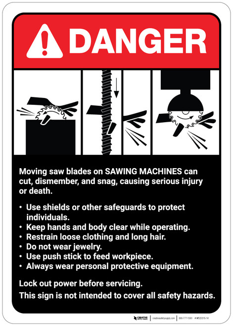 Danger: Sawing Machine Guidelines ANSI - Wall Sign