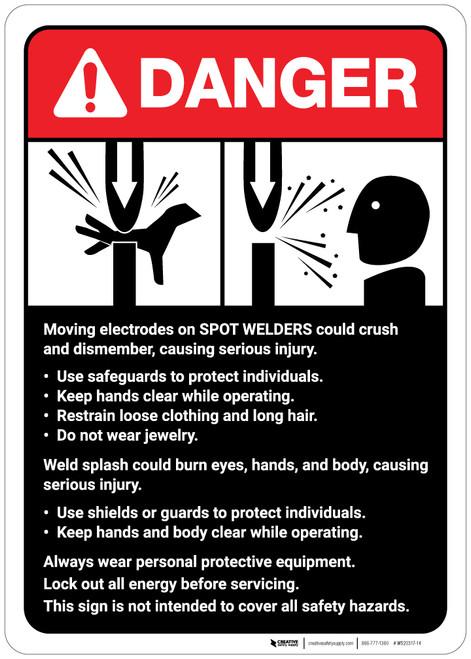Danger: Spot Welder Machine Guidelines ANSI - Wall Sign