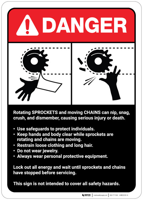 Danger: Sprocket/Chain Warning and Guidelines ANSI - Wall Sign
