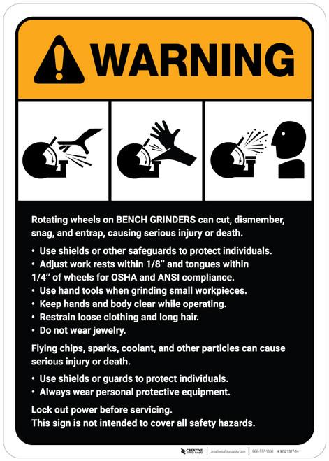 Warning: Bench Grinder Machine Guidelines ANSI - Wall Sign