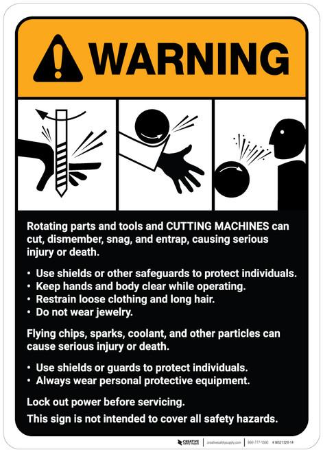Warning: Cutting Machine Guidelines ANSI - Wall Sign