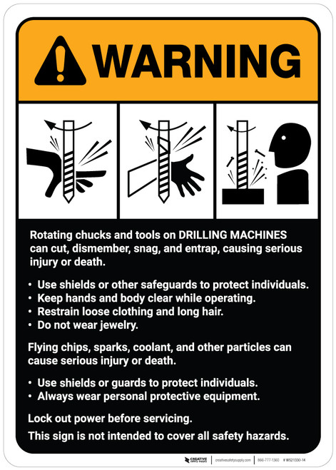 Warning: Drilling Machine Guidelines ANSI - Wall Sign