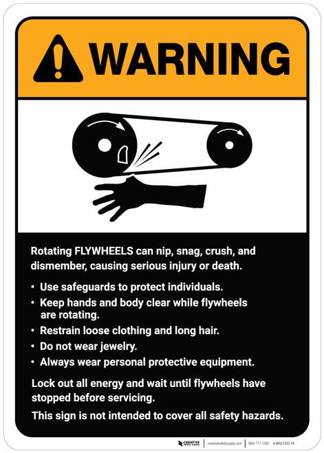 Warning: Flywheels Guidelines ANSI - Wall Sign