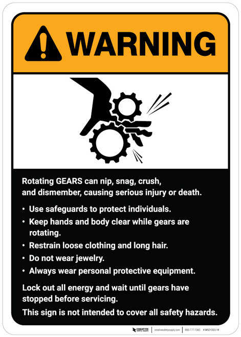 Warning: Rotating Gears Guidelines ANSI - Wall Sign