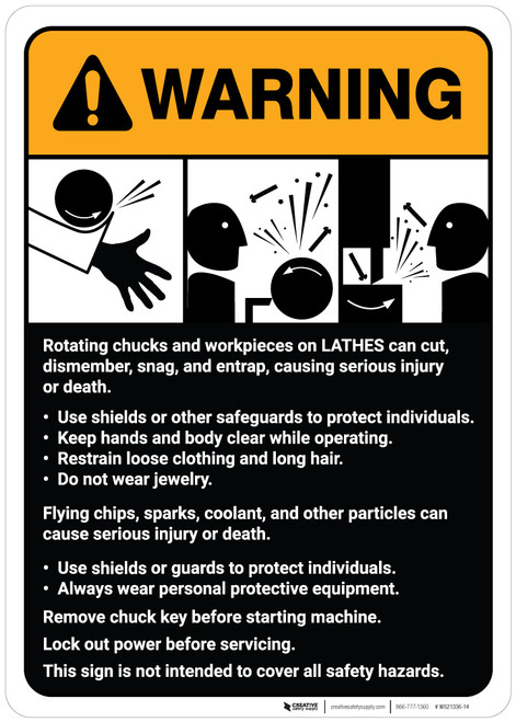 Warning: Lathe Machine Guidelines ANSI - Wall Sign