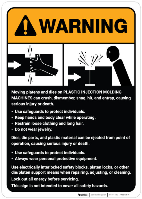 Warning: Plastic Injection Molding Machine Guidelines ANSI - Wall Sign