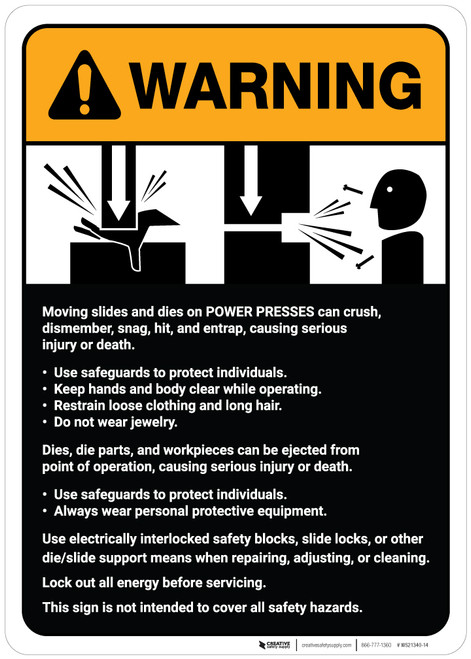 Warning: Power Presses Machine Guidelines ANSI - Wall Sign
