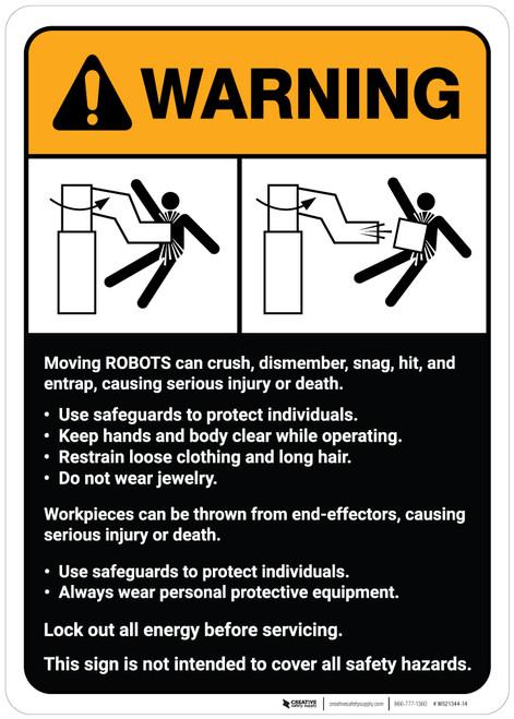 Warning: Robot Crush Warning and Guidelines ANSI - Wall Sign