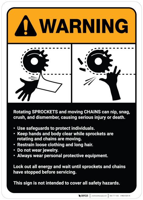 Warning: Sprocket/Chain Warning and Guidelines ANSI - Wall Sign