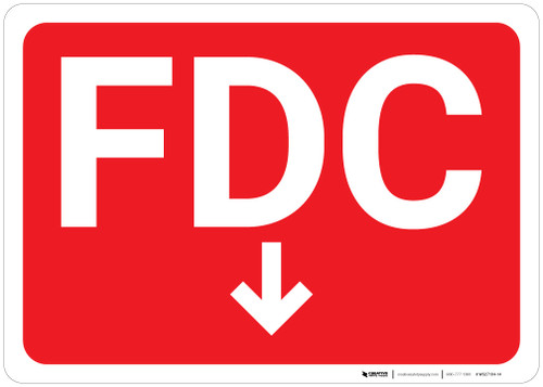FDC Arrow Down Red Background - Wall Sign