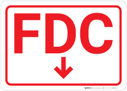 FDC Arrow Down White Background - Wall Sign