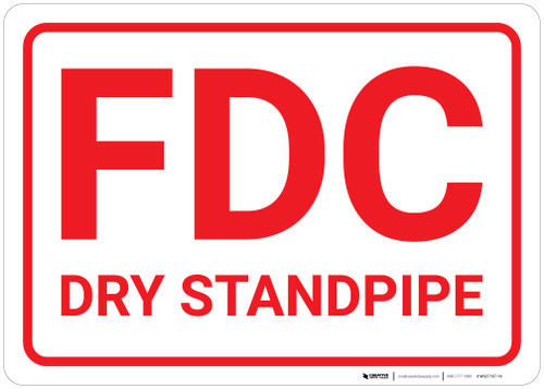 FDC Dry Standpipe White Background - Wall Sign