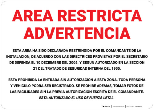 Restricted Area Warning Spanish - Wall Sign